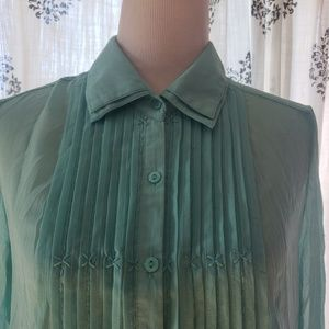 Miilla Pleated Button Blouse Turqouise Large